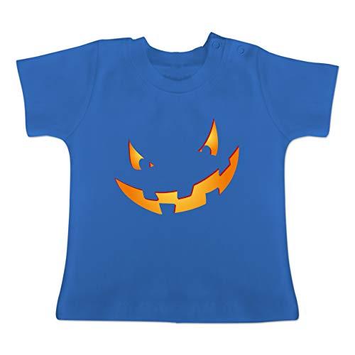 Anlässe Baby - Kürbisgesicht klein Pumpkin - 1-3 Monate - Royalblau - BZ02 - Baby T-Shirt Kurzarm (Monate Altes Halloween-kostüme 11 Baby)