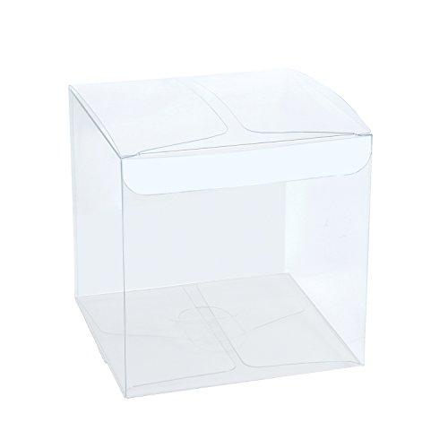 Laribbons scatole trasparenti del pet di 30pcs / contenitori di regalo liberi per favori di nozze, partito e doccia del bambino, 10 x 10 x 10 cm