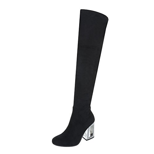 Ital-Design Overknees Damen-Schuhe Overknees Pump High Heels Reißverschluss Stiefel Schwarz, Gr 39, 3689-