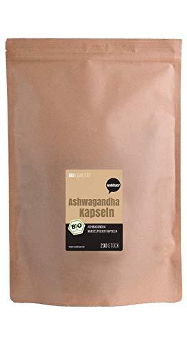 Wohltuer Bio Ashwagandha Kapseln (200 Stück) Mind. 5{53d23a853ee242e71bd6995ed33abad4fa4496299342a19a10476ef79885fe21} Withanolide | Original Withania Somnifera | Bio & Vegan