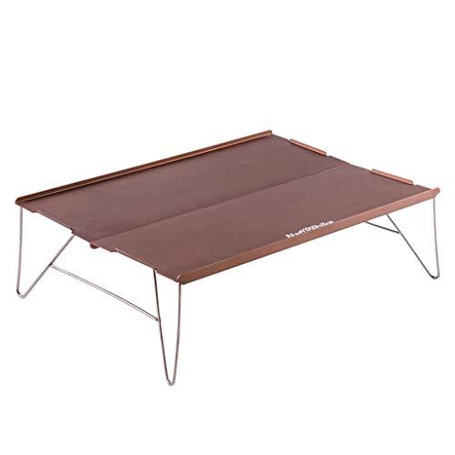 NJ Table Pliante- Table Se Pliante Ultra-légère d'alliage d'aluminium, Table Se Pliante exposée Sauvage (Couleur : Champagne, Taille : 34.4x24.7x10.4cm)