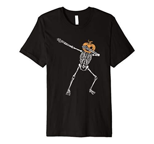 Abtupfen Skeleton Jack O Lantern Kopf Halloween T Shirt