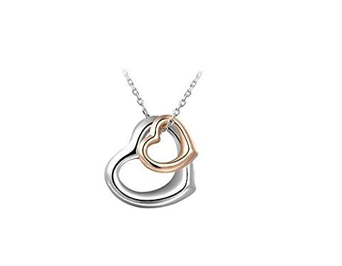 Dawn Davison Mode Collier double cœur double Couleur Plaqué or pendentif cadeaux de Noël