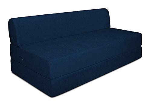 Aart Store 2 Seater Sofa cums Bed 4x6 Two Seater Sleeps & Comfortably Perfect for Guests Blue Color