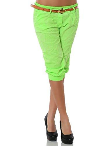 Daleus Damen Chino Capri Hose inkl. Gürtel (weitere Farben) No 13235, Größe:M / 38, Farbe:Grün