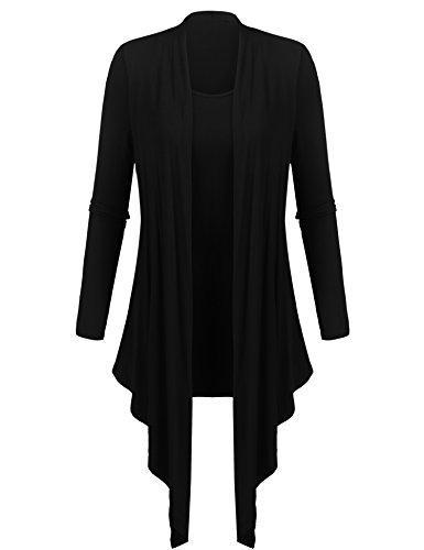 Beyove Damen Strickjacke Cardigan Asymmetrisch Ärmellos Lang Wasserfall Cardigan Weste Offen Outwear Ärmellos (EU 36(Herstellergröße:S), (A) schwarz)