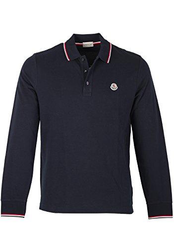 MONCLER CL Blue Long Sleeve Polo Shirt Size S/36R U.S. d'occasion  Livré partout en Belgique