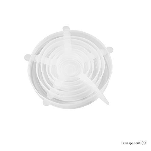 Silikon-Stretchdeckel mit 6 Größen für Glas- / Plastiklebensmittelbehälter / -gläser / -schalen, wiederverwendbare flexible und haltbare Folie, Nahrungsmittelabdeckung auf Becher/Platte,Clear