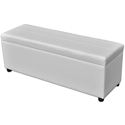 Vidaxl panca contenitore lunga in legno bianca panchina stoccaggio cassapanca