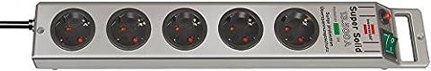 4er Set: Brennenstuhl Super-Solid Überspannungsschutz-Steckdosenleiste 5-fach silber mit Schalter,