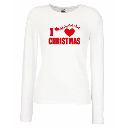 lepni.me Manches Longues Femme T-Shirt Jadore Noël - Tenues de Noël, Père Noël et les Rennes Blanc Multicolore