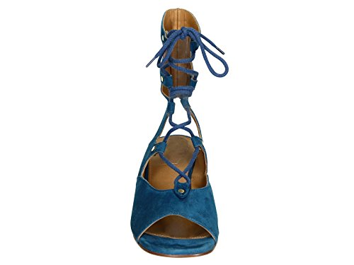Spartiates à talon compensée Chloé en daim Outremer - Code modèle: CH24522 CAMOSCIO 717 Outremer