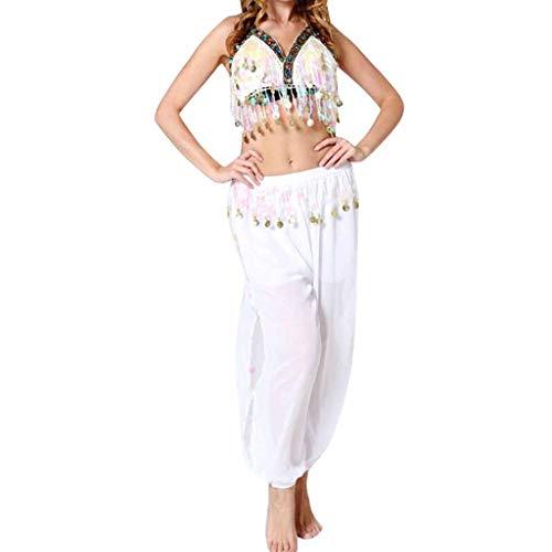 Damen Bauchtanz Kostüm Set Oberteil und Hose Piebo Aladdin Kostüm Orient Kostüm Faschingskostüm Chiffon Karnevalkostüm Indischer Tanz Darbietungen Kleidung Festival Show Kostüme