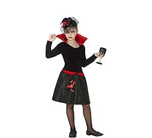 Atosa-55621 Atosa-55621-Disfraz Vampiresa para niña Infantil-Talla, Color negro 10 a 12 Años (55621