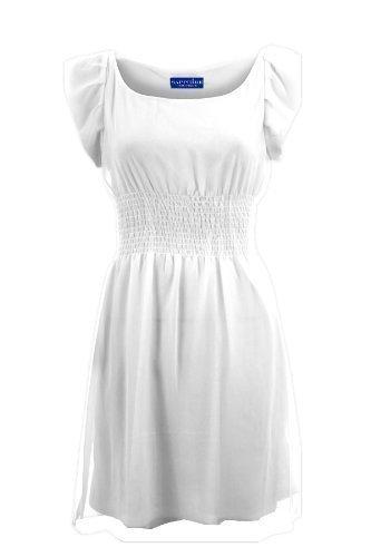 Sapphire Women'gefütterte, elastische Taille, Chiffon Sleeveless Damen Kleid kurz Weiß - Weiß