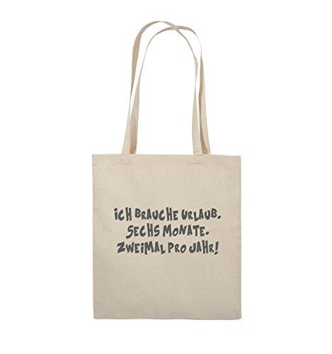 Comedy Bags - ICH BRAUCHE URLAUB - SECHS MONATE - Jutebeutel - lange Henkel - 38x42cm - Farbe: Schwarz / Pink Natural / Grau