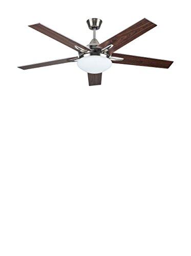 Ventilateur de plafond sulion 75655 modèle plywood, avec lumière et commande à distance, 132 cm Finition Nickel satiné et 5 pales gris-nogal, akunadecor