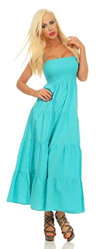 Fashion4Young 3989 Damen Maxikleid Gesmoktes Oberteil Stufenrock Sommerleid Baumwollkleid Partykleid (türkis, XL-40) -