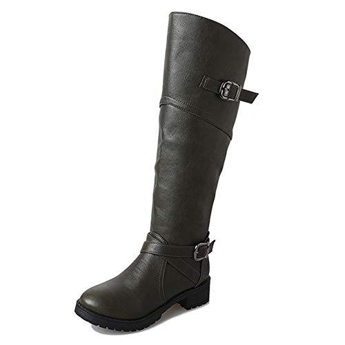 Anokar Stiefel Damen Leder Flach Reißverschluss Overknee Langschaft Stiefel Winter Reitstiefel Casual Elegante Schuhe Fashion, grün, Gr.35, Herstellergrösse 225