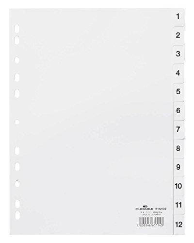 Durable 611202 Register 1-12, DIN A4 hoch, weiß