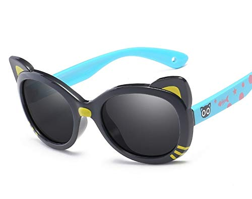 Zhanying Kinder Polarisierte Sonnenbrille Cartoon Bunte Baby Sonnenbrille Bär Silikon polarisierte Sonnenbrille niedliche Cartoon Light Black Frame Lake Blue Leg