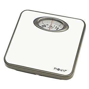 Nevir NVR-3330 BB – Báscula de baño (Analógico, Gris, Color Blanco, 257 mm, 263 mm, 50 mm, 257 x 263 x 50 mm)