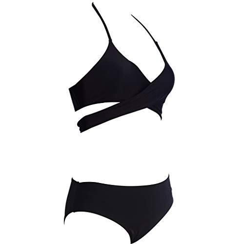 Bikini-Set,Damen Sling Badebekleidung Cross Split Bikini Volltonfarbe Weste Print Hohe Taille Split Badeanzug Strandkleidung