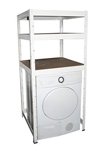 shelfplaza® PROFI Waschmaschinenregal 155x70x70 cm weiß mit 3 Böden - Trocknerregal Frontlader-Waschmaschine Regal Lagerregal Metallregal Regalsystem Fachbodenregal Haushaltsregal
