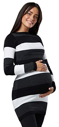 HAPPY MAMA Damen Mutterschaft Gestrickte Tunika Rundhalsausschnitt 453p (Schwarz, 36-38, S/M)