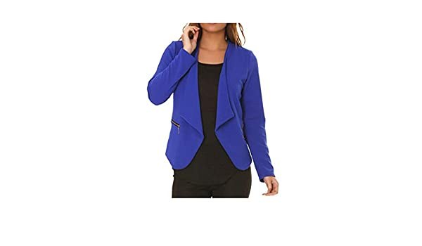dmarkevous - Veste de Blazer Femme Bleue Royale avec Poches et Zip doré  fictif - Unique, Bleu Royal  Amazon.fr  Vêtements et accessoires ed389f9a7cb7