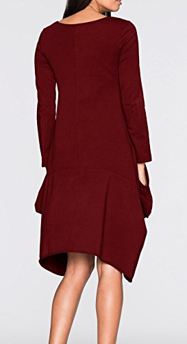 Xiang Ru Femme Robe Automne Hiver Pull Col Rond Top Manche Longue Chemise Grande Taille Bordeaux
