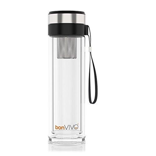 bonvivo Vitalitea Glas-Trinkflasche Für Smoothies Und Tee, Mit Thermo-Funktion Und Tea-Filter, 0,45 Liter, In Schwarz
