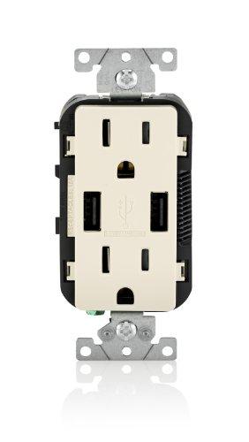 Leviton t5632-t Combo Duplex mit & Behälter 15-amp USB-Ladegerät (Light Almond) (Leviton Duplex)