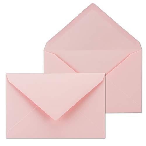 25x Vintage Brief-Umschläge mit Zackenschnitt - Rosa - DIN B6-116 x 180 mm - 11,6 x 18 cm - imitierter Büttenrand gestanzt - Nassklebung - by GUSTAV NEUSER®