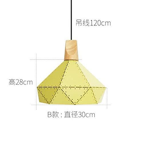 Tabelle Kronleuchter kreative Persönlichkeit Schlafzimmer Lampe B Abschnitt gelb Durchmesser 30cm mit monochromen LED warmes Licht 9 Watt Birne -