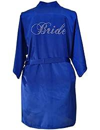Yying Bride Crystal Dressing Gowns Satin Kimono Satin Robe Rhinestone Wedding Party Robes