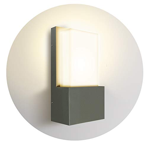 Topmo-plus LED Wandspot Aluminiumm/PC Außenwandlampe ohne Leuchtmittel / E27 Fassung Leuchtmittel nicht inclusive / IP65 Wasserdicht/Garten / Flur 24,5 x 12 x 8 cm grau (618 / grau)