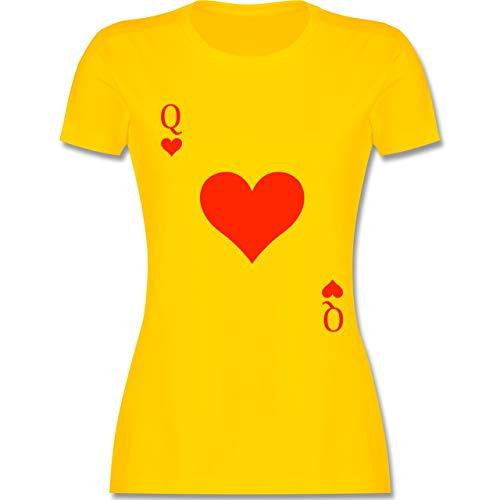 Karneval & Fasching - Queen Kartenspiel Karneval Kostüm - S - Gelb - L191 - Damen T-Shirt ()