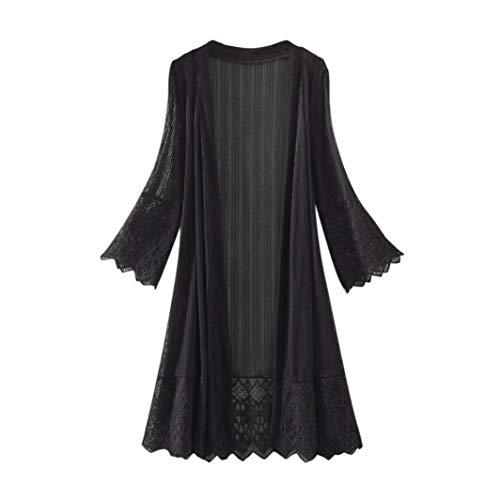 Cardigan en Mousseline de Soie à Manches Longues en Dentelle pour Femmes Top Smock T-Shirt Couleur Pure Mode Casual