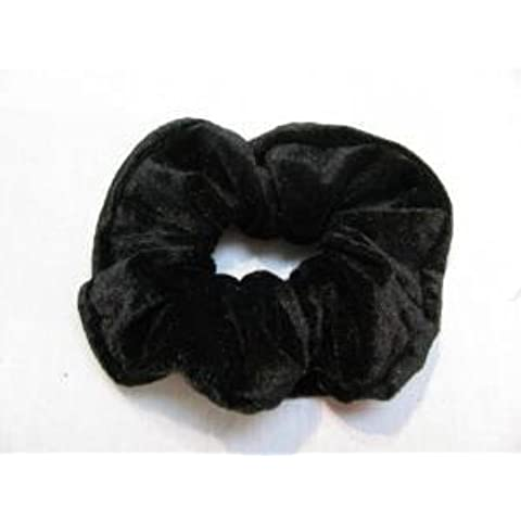 Classic Large Velvet Hair Scrunchy / Ponio band NEW-Available in Black,Grey,Navy Blue,Bright Red,Crimson Red,Burgundy,Purple,Dark Green. (Black) by Top