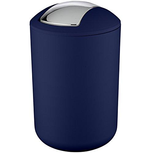 Wenko 22521100 Schwingdeckeleimer Brasil dunkelblau L, Kosmetikeimer, Mülleimer, bruchsicher, Fassungsvermögen: 6.5 l, Thermoplastischer Kunststoff (TPE), 19.5 x 31 x 19.5 cm, dunkelblau