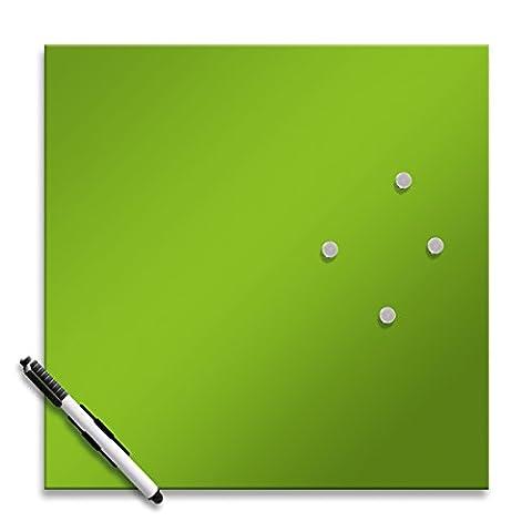 Eurographics MB-GREEN3030 Memo Board, Magnet- und Schreibtafel aus Glas, inklusive Stift und Magnete, 30 x 30 cm, grün