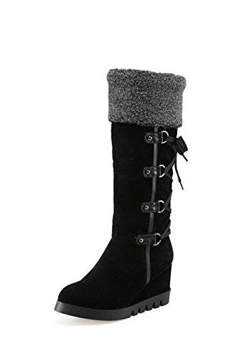AgooLar Damen Niedriger Absatz Mattglasbirne Rein Ziehen auf Rund Zehe Stiefel, Blau, 40