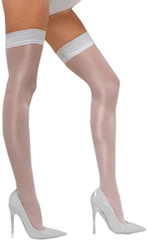 smiffys-24625-sheer-brillare-autoreggenti-bianco-con-silicone-taglia-unica