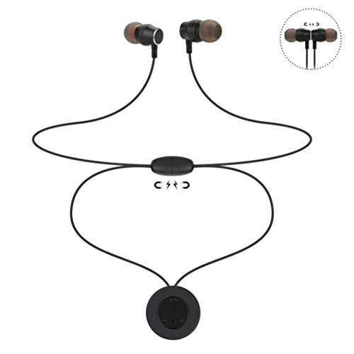 Bluetooth Kopfhörer,Huhu833 Drahtloser Sweatproof Kopfhörer magnetische Halsketten Anhänger Bewegung Bluetooth Kopfhörer für iPhone X (Schwarz) - Magnetische Anhänger
