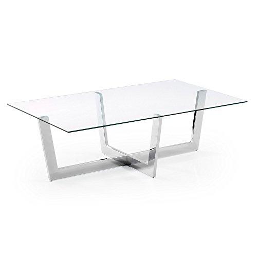 Mesa de centro Plam, cristal transparente