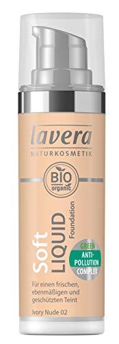 Kosmetik Liquid Foundation (lavera Soft Liquid Foundation -Ivory Nude 02- Für einen frischen Teint ∙ Leichtes auftragen ∙ Vegan ✔ Naturkosmetik ✔ Natural Make-up ✔ Bio Pflanzenwirkstoffe ✔ 100% natürlich (1x 30 ml))
