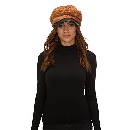 MIRAMAR Damen Wintermütze mit Pelz, warm und weich, 11270 Camel Warme Camel