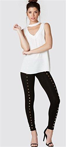 szivyshi Moda Senza Maniche con Collo Alto e Profonda Scollatura Laterale Laterali Spacco Spacchi Blouse Cami Vest Canotte Tank Shirt Top Bianco Bianco