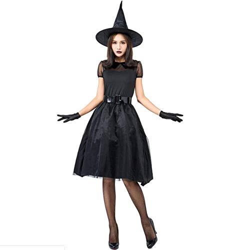 Cosplay Kostüm Zauberin - ASDF Halloween Schwarze Zauberin Cosplay Kostüm Hexenkostüm